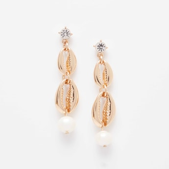 Beaded Drop Earrings with Pushback Closure