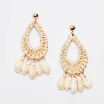 Drop Earrings with Shell Charms with Pushback Closure