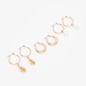 Set of 3 - Embellished Dangling Earrings with Hinged Hoop