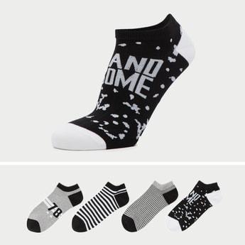 Set of 4 - Printed Ankle Length Socks