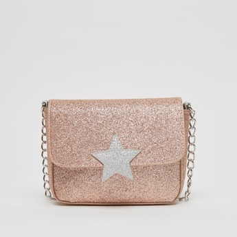 Embellished Crossbody Bag with Metallic Chain