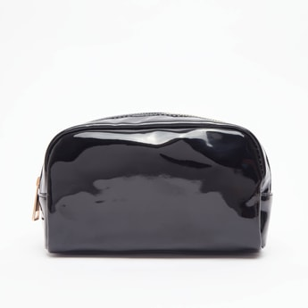 Solid Glossy Pouch with Zip Closure