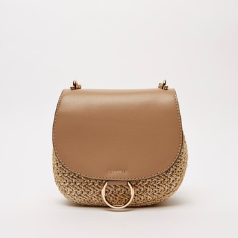 Textured Crossbody Bag with Magnetic Snap Closure and Metallic Chain