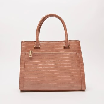 Textured Tote Bag with Twin Handles and Shoulder Strap