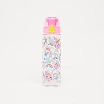 Unicorn Print Water Bottle with Flip Cap - 700 ml