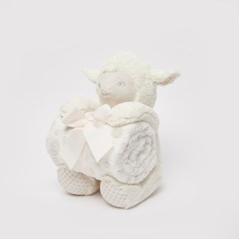 Textured Infant Blanket with Plush Toy - 75x100 cms
