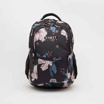 Floral Print Backpack with Zip Closure - 19 Inches