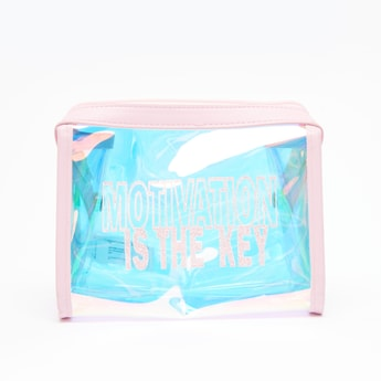 Typographic Print Transparent Pouch with Zip Closure