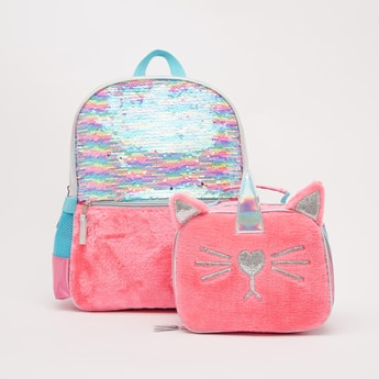 Sequin Detail Backpack with Lunch Bag - 15.70 Inches