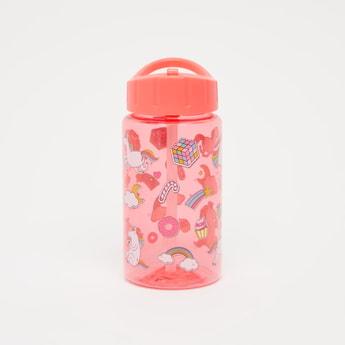 Unicorn Print Water Bottle with Flip Spout - 430 ml