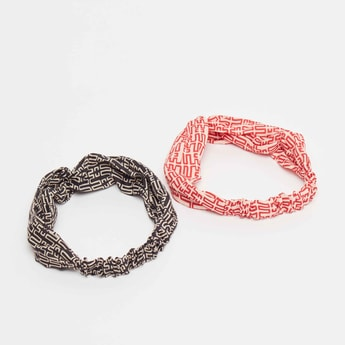 Set of 2 - Printed Headband with Twist Detail
