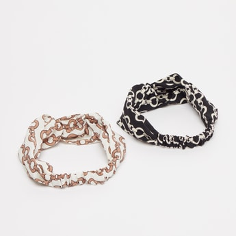 Set of 2 - Printed Hairband with Knot Detail