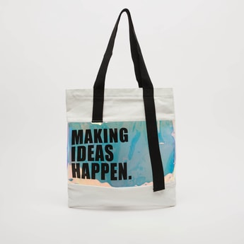 Text Print Tote Bag with Zip Closure