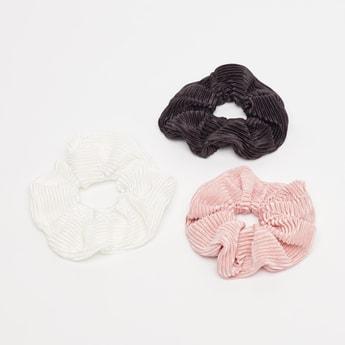 ربطة شعر بارزة الملمس مستديرة مطاطية - طقم من 3 قطع