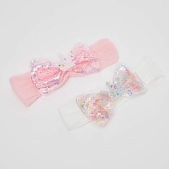 Set of 2 - Solid Hairbands with Embellished Bow Applique