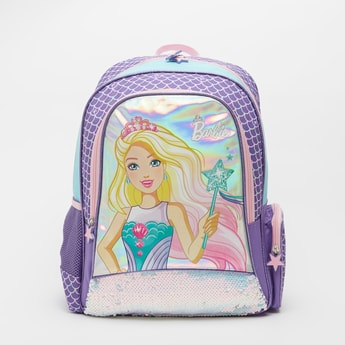 Barbie Print Backpack with Adjustable Shoulder Straps - 16 Inches