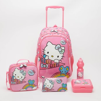 Hello Kitty Print 5-Piece Trolley Backpack Set - 18 Inches