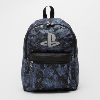 Printed Backpack with Adjustable Straps and Zip Closure - 16 Inches