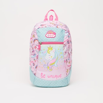 Unicorn Print Backpack with Adjustable Shoulder Straps - 13 Inches