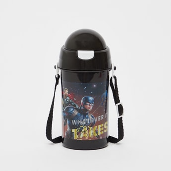 Avengers Print Water Bottle with Adjustable Strap - 500 ml