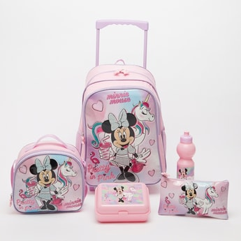 Minnie Mouse Print 5-Piece Trolley Backpack Set - 16 Inches