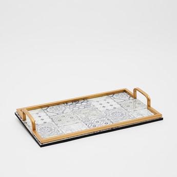 صينية تقديم بمقابض بزينة ميتاليك وطبعات