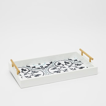 Printed Serving Rectangular Tray with Handles