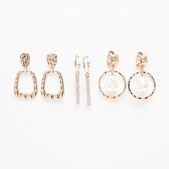 Set of 3 - Embellished Dangling Earrings with Pushback Closure