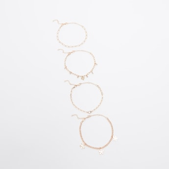 Set of 4 - Assorted Anklets with Lobster Clasp Closure