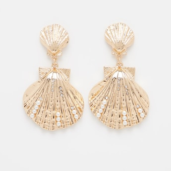 Seashell Shaped Earrings with Pushback Closure