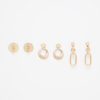 Set of 3 - Embellished Earrings with Pushback Closure