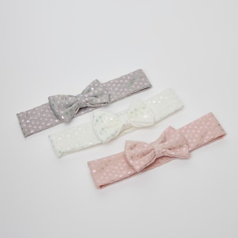 Set of 3 - Printed Headband with Bow Applique Detail