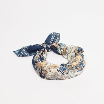 Printed Hairband with Tie Up