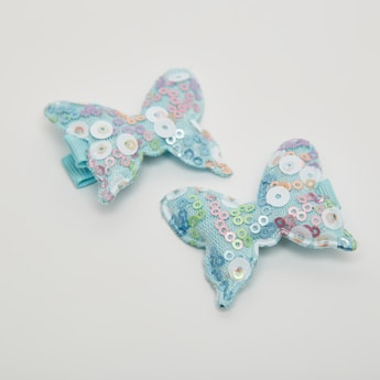 Set of 2 - Sequin Embellished Bow Hair Clip