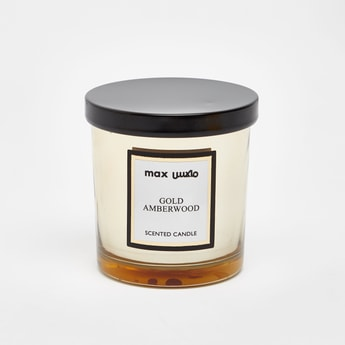 Gold Amber Wood Scented Candle Jar