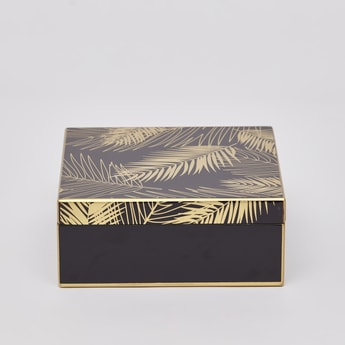 Leaf Print Decorative Box - 17x17x7 cms