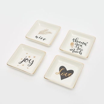 Set of 4 - Printed Square Jewellery Plate