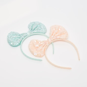 Set of 2 - Sequin Bow Applique Detail Hair Band