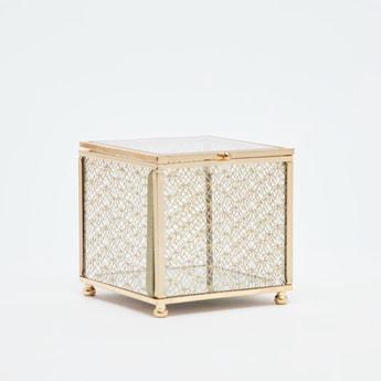 صندوق مجوهرات بارز الملمس بتصميم زركشة مخرمة