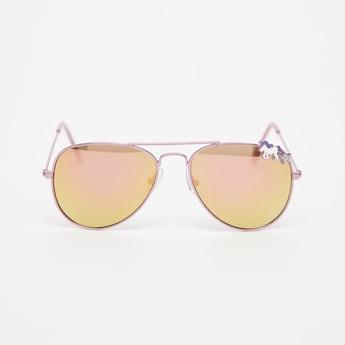 Embellished Metal Framed Sunglasses with Nose Pads
