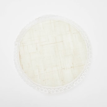 Textured Round Placemat with Lace Detail - 38 cms