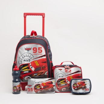 Cars Print 5-Piece Trolley Backpack Set - 16 Inches