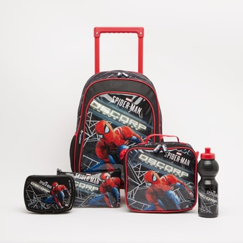 Spider-Man Printed 5-Piece Trolley Backpack Set - 16 Inches