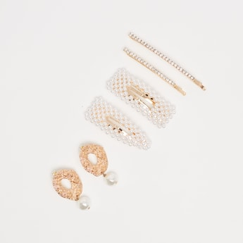 Pearl Detail Earrings with Hair Accessory Set