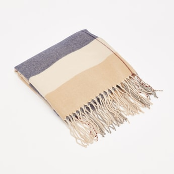 Striped Scarf with Tassel Detail