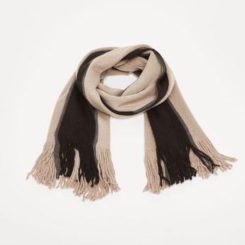 Textured Scarf with Tassel Detail