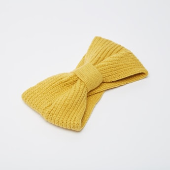 Textured Woolen Headband with Front Knot Detail