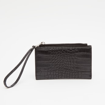 Textured Bi-Fold Wallet with Snap Button Closure