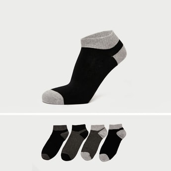 Pack of 4 - Solid Ankle Length Socks with Ribbed Hem