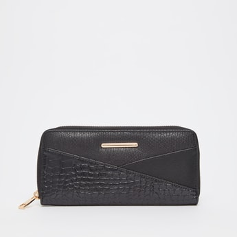 Reptilian Textured Wallet with Zip Around Closure